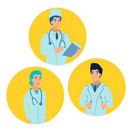 Doctor medical professional. Flat style. Cartoon raster Stock Photo
