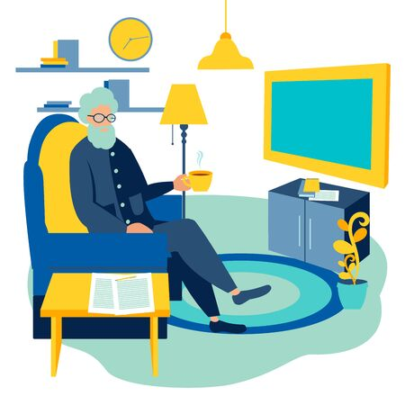 Old man watching TV at home cartoon raster