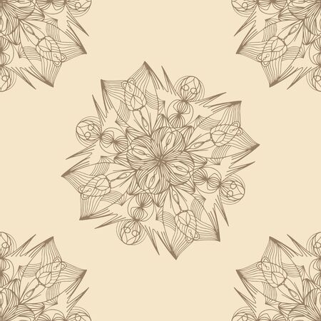 Pale, seamless pattern. Picture of flower, stars or snowflakes. Cartoon vector