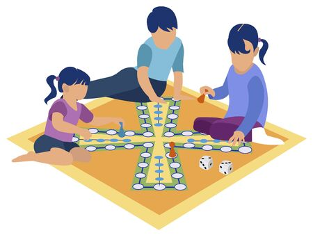 Tabletop game. Children playing on the floor, self employment. Flat style Cartoon vector 向量圖像