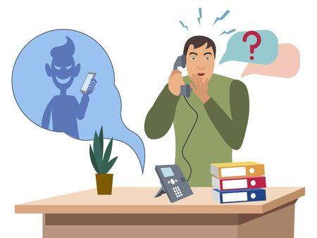 Telephone con man. Flat style Cartoon vector