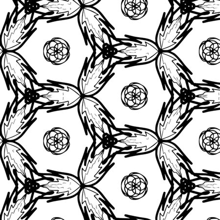 Children coloring, pattern. Leaves in a circle. Black and white snowflake. Cartoon vector 向量圖像