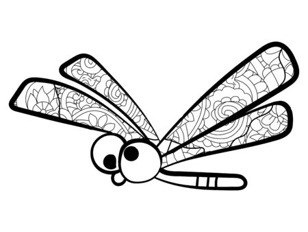 Children coloring, dragonfly with patterns. Black and white snowflake. Cartoon vector 向量圖像