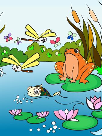 wetland landscape with animals vector for adults Ilustrace