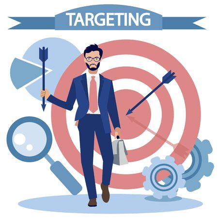 Targeted advertising, business. Flat style Cartoon vector