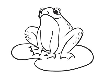 Children coloring, a frog is sitting on a water lily. Black and white snowflake. Cartoon vector