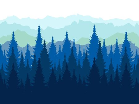Landscape, tops of conifers. Paper forest. In minimalist style Cartoon flat raster