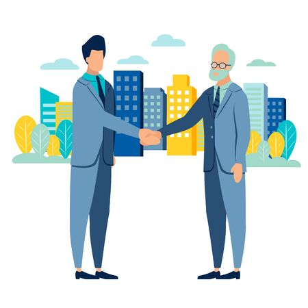 Businessman handshake deal . Flat style. Cartoon raster 版權商用圖片