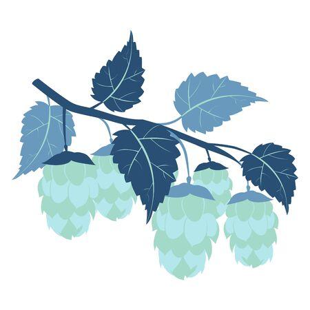 Hops plant cartoon colorful flat raster. Color minimalistic style 版權商用圖片