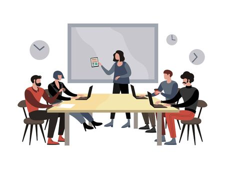 Briefing meeting in company raster illustration. Flat style
