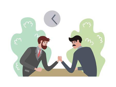Men compete in arm wrestling raster illustration