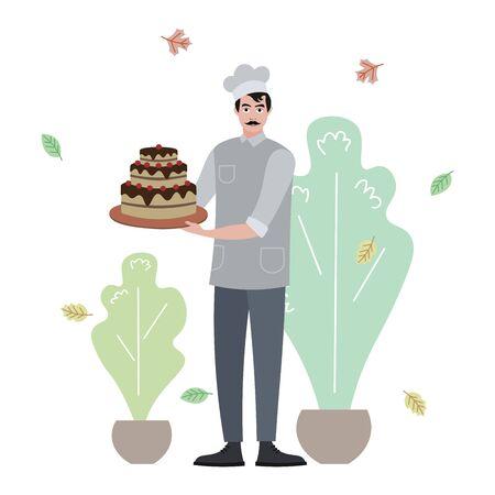 Cook made birthday cake raster illustration. Flat style