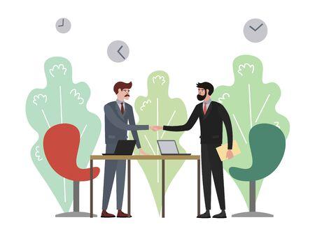 Handshake in business company raster illustration. Flat style