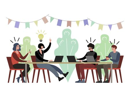 Light bulb idea on company meeting raster