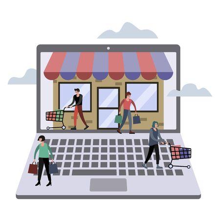 Online store technology raster illustration. Flat style 版權商用圖片