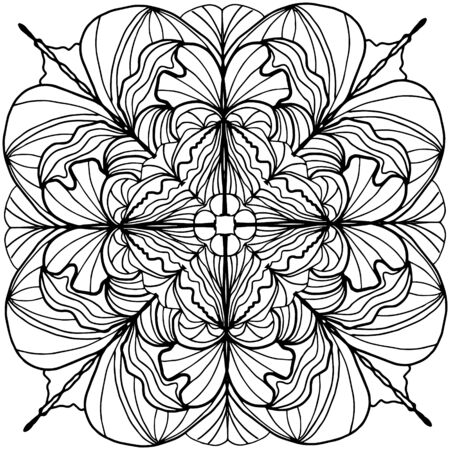Brassica oleracea, children coloring, drawing. Leaves set of different plants and trees. Black and white snowflake. Cartoon vector 向量圖像