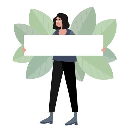 Woman hold blank poster raster illustration. Flat style