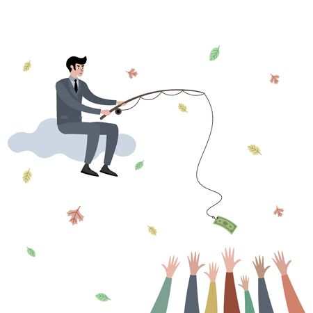 Businessman catching people raster illustration. Flat style