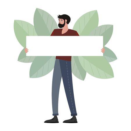 Man hold blank poster raster illustration. Flat style