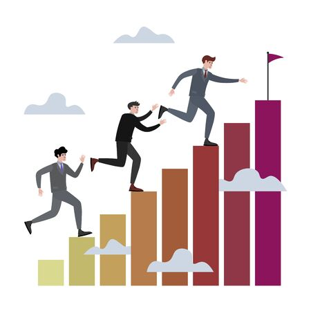 Businessman competition in run raster illustration. Flat style