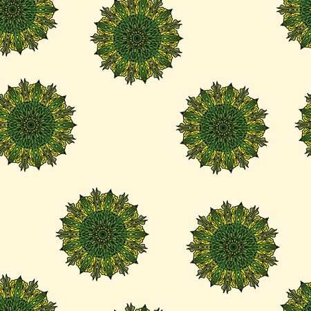 Seamless background, mandala of green color. Cartoon vector
