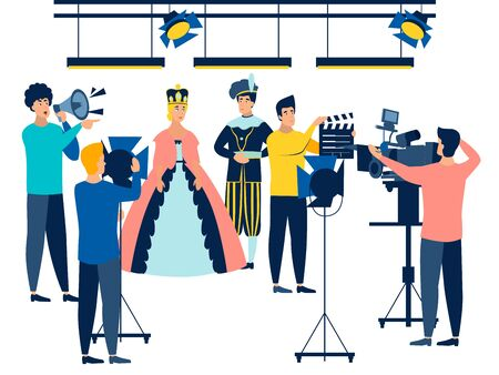 Filming. Actors and film industry employees. In minimalist style. Cartoon flat raster