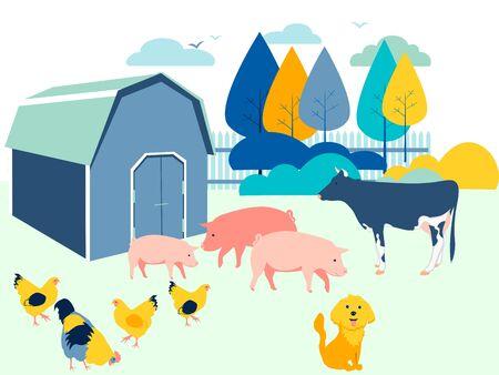 Farm yard, animals. Flat in minimalist style. Cartoon raster Stock fotó