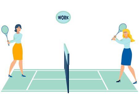 Office workers play tennis. Throwing work. In minimalist style Cartoon flat raster