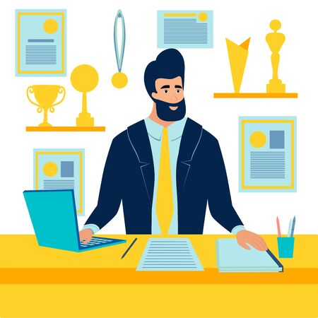 Sports manager, the winner at the desk. In minimalist style. Cartoon flat raster
