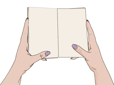 Female hands hold an open notebook. Blank for notes, diary. Drawing, the object is isolated on a white background. raster Stok Fotoğraf - 134711676