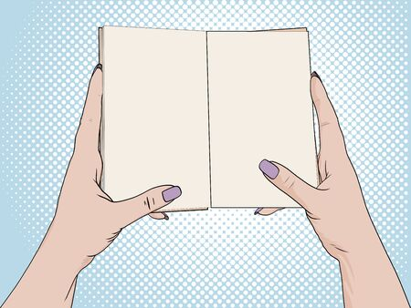 Female hands hold an open notebook. Blank for notes, diary. Drawing, Pop art background. raster