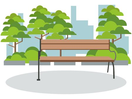 Background park rest, bench. In minimalist style Cartoon flat raster Illustration Archivio Fotografico - 134711680