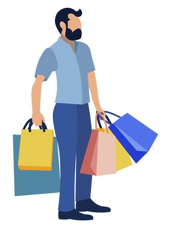 A man carries shopping bags, gifts. In minimalist style Cartoon flat raster