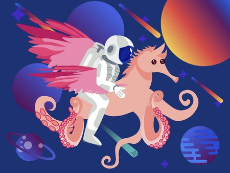 Fantasy, astronaut riding a seahorse with octopus tentacles. Space background. In minimalist style Cartoon flat raster Illustration