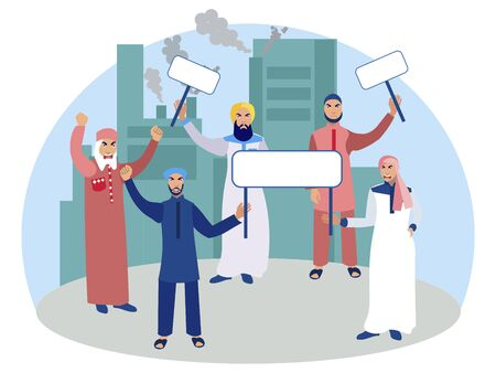 Muslim men protesters with posters. In minimalist style Cartoon flat raster Illustration