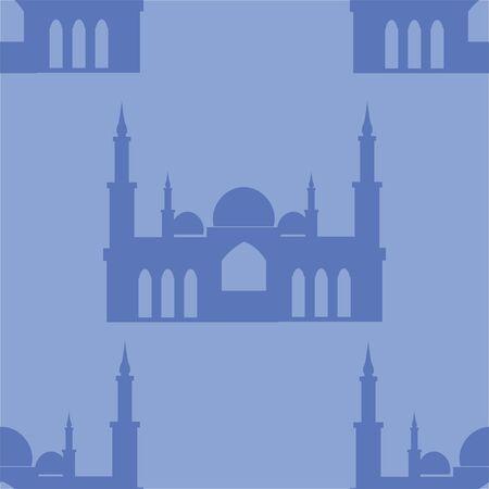 Taj Mahal. Seamless background, landmark turkey mosque. Cartoon flat raster Illustration