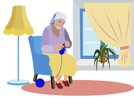 Grandmother sits near the window and knits clothes. Expecting grandchildren, loneliness. In minimalist style. Cartoon flat raster
