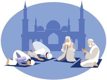 Man pray, prayer in islam. In minimalist style. Cartoon flat raster Illustration