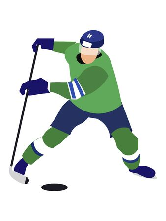 Isolated sportsman, hockey player on a white background. In minimalist style Cartoon flat raster