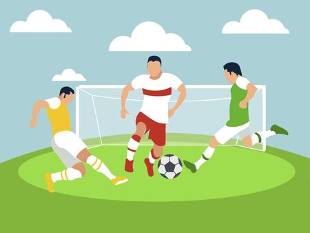 Sports match, men play football. In minimalist style Cartoon flat raster
