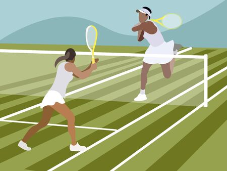 Tennis, sports game. In minimalist style Cartoon flat raster 写真素材