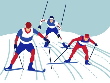Alpine skiing. In minimalist style Cartoon flat raster