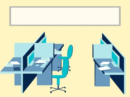 Office interior, workplace. In minimalist style Cartoon flat raster Stok Fotoğraf
