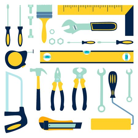 Worker tools builder, auto mechanic or mechanic. Insulated objects. In minimalist style Cartoon flat raster