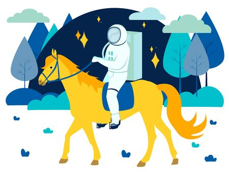 Fantastic, astronaut rides a yellow horse. In minimalist style Cartoon flat raster
