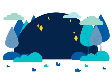 Night landscape, park or forest. In minimalist style Cartoon flat raster Stok Fotoğraf