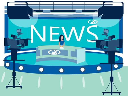 TV channel news studio interior. Reporter in the workplace. In minimalist style Cartoon flat raster Stok Fotoğraf