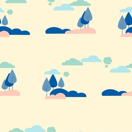 Seamless picture, background. Nature, trees and shrubs. In minimalist style Cartoon flat raster Stok Fotoğraf