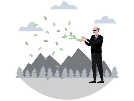 Rich pensioner throws money. In minimalist style Cartoon flat raster, isolated on white background