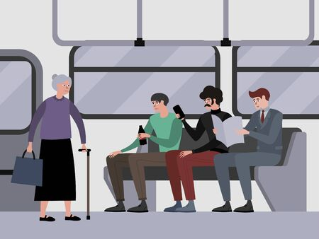 Disrespect to pensioners, grandmother. Young guys do not give way to public transport. Indifference. In minimalist style Cartoon flat raster Stok Fotoğraf
